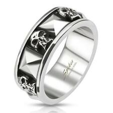 Stainless Steel Skull and Pyramid Cast Band Ring