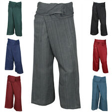 THAI FISHERMAN TROUSERS PANTS 100% COTTON with SOFT STRIPE PILATES MASSAGE YOGA