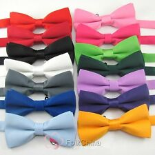 New Satin Mens Pre Tied Wedding Party Fancy Plain Necktie Tie Bow Ties 20 Colors