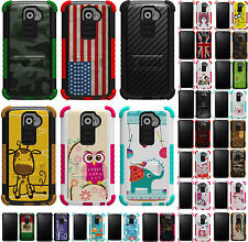 TRI-SHIELD DESIGN RUGGED CASE RUBBER SKIN HARD COVER STAND FOR LG G2 PHONE