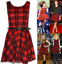 SEXY LADIES WOMENS TARTAN PRINT SKATER DRESS CHECK BELTED PARTY OUTFIT 8 -14