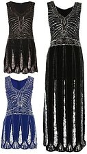 NEW LADIES BLACK FLAPPER SEQUIN BEADED DETAIL DRESS WOMENS PARTY DRESS 16-26