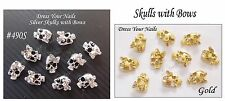 Gold Silver Metal Skull with Bow 3d Nail Art - Rhinestone - Craft - Halloween