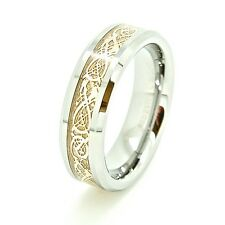 Traditional 6mm 18K GP Celtic Dragon Tungsten Unisex Wedding Ring Fashion Band