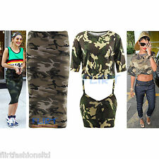 Womens Crop Top Celeb Inspired Bra Camouflage Print Knee Length Dress Tops Vest