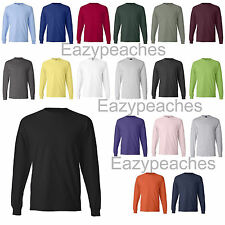 HANES Mens S-XL XXL 3XL TAGLESS COTTON Long Sleeve T-shirt with Pocket Tee 5596