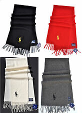 POLO RALPH LAUREN BIG PONY LAMBS WOOL SCARF MENS BLACK GREY WHITE IVORY RED NEW