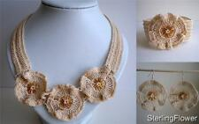 Unique Hand Made Crochet Bracelet Earrings Necklace In Beige Cotton & Glass