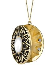 House of Harlow 1960 Nicole Richie gold plated black and white enameled locket