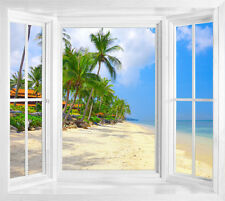Palm Beach And Tropical Sea view illusion window decal window frame wall sticker