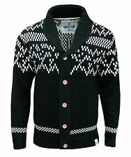 Soul Star Quebec Men's Aztec Nordic Fair Isle Knitted Cardigan Jumper black 2024