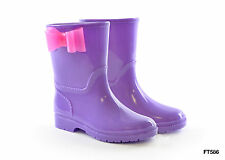 Kids Girls Wellies Wellington Boots Purple with Pink Bow UK 9,10,11,12,13,1,2,3