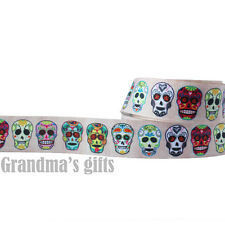"1""25mm Halloween Skull Mask Printed Grosgrain Ribbon5/50Yards Hairbow Wholesale"