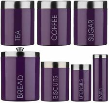 Purple Tea Coffee Sugar Bread Biscuit Pasta Utensil Storage Canisters jars Set