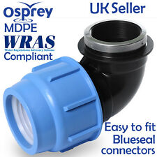 MDPE Plastic Compression Female Elbow Fitting in various sizes for Water pipe