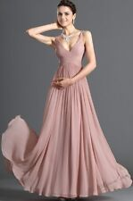 New Long Prom Dresses V-Neck Chiffon Cocktail Evening celebration Gowns In Stock