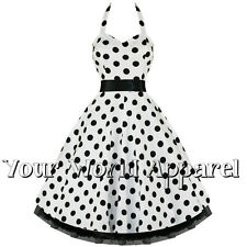 H&R LONDON 0211 HALTER WHITE BLACK POLKA DOT PINUP ROCKABILLY VINTAGE DRESS PUNK