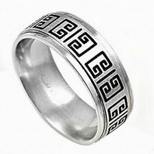 GREEK ANCIENT DESIGN 316L WEDDING BAND Stainless Steel Ring SIZES 9-13