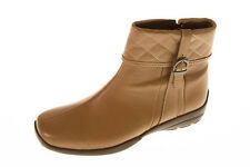 EASY B by DB 'Dance' Ladies Taupe Leather Boot With Quilted Collar. 6E Fitting