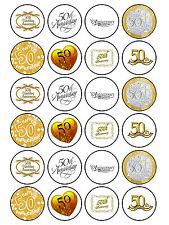 24 x Edible Personalised 50th Wedding Anniversary Golden Cake Cupcake Toppers