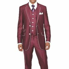 Men's Slim Fit Suit Wool Feel with pants & vest included Burgundy/White 5702V1