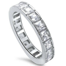 2CT PRINCESS CUT CZ ETERNITY WEDDING BAND .925 Sterling Silver Ring SIZES 5-9