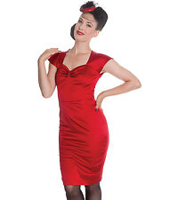 HELL BUNNY 50's ANGIE satin PENCIL party wiggle DRESS cocktail RED
