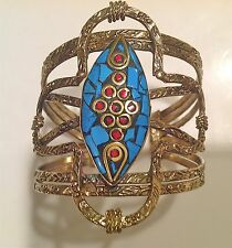 TAJ MAHAL INDIA STATEMENT CUFF or BRACELET ATTACHED RING ETHNIC BOHO BRASS TURQ.