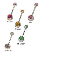 CGC Stainless Steel Double Jeweled Barbell Belly Ring