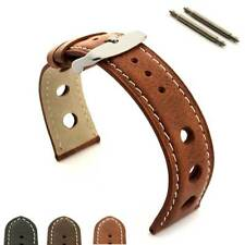 Mens Genuine Leather Watch Strap Band TWISTER in Rally Racing Style SS Buckle