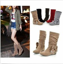 Fashion Boho Women Winter Faux Suede Boots Bow Mid Calf Wedge Flat Casual Shoes