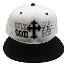 ONLY GOD CAN JUDGE ME White/Black Snapback Cap