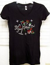 """Juniors Fit Christmas Rhinestone V-Neck Shirt """"Get Your Merry On"""" Ladies Bling"""