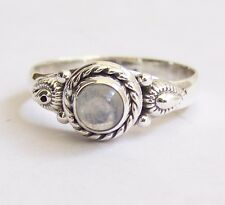 925 Sterling Silver Ethnic Ring 7mm Moonstone Handmade - Mysterious