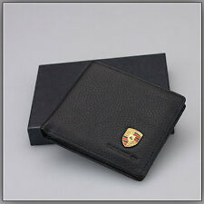 Mens Porsche Wallet in Black Genuine Leather complete in  Gift Box.