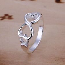 Stunning 925 Sterling Silver Infinity Double Hearts Love Ring Sizes 6 - 10