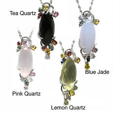 De Buman Sterling Silver Pink Quartz, Lemon Quartz, Blue Jade or Tea Quartz Gems
