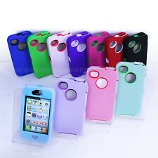 FOR iPHONE 4 4S HEAVY DUTY DEFENDER HYBRID RUGGED HARD CASE STYLUS SCREEN CABLE