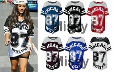 Womens Baseball Varsity Chicago 87 Wolves Print Oversize Mesh T-Shirt Baggy Top