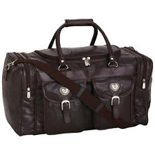 "NWT Womens  21"" Genuine Brown Black Leather Duffle Travel Gym Luggage Bag Heart"