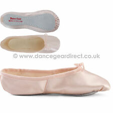 WIDE FIT Pink Satin Ballet Shoes Full Sole Girls Ladies by Dance Gear PSSSW