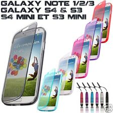 COQUE ETUI HOUSSE SILICONE GEL SAMSUNG GALAXY S4 S3 NOTE 1/2/3 S4,S3 MINI + FILM