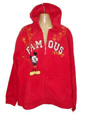 NWT DISNEY MICKEY MOUSE RED THICK FLEECE ZIP UP HOODED JACKET TOP L ~ LAST 1