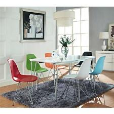 Wire Base Eiffel Side Chair in light blue, white, red, and black