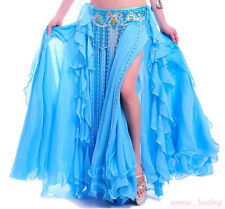 New Belly Dance Costume Silver Edge 2 Layers 2 Side Slits Skirt/Dress 11 colours