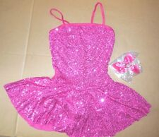 NWT Sequin dress w/attached trunks Dance costume Rasberry girls szs satin bows