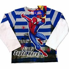 BNWT OFFICIAL Spiderman Long Sleeved Striped T-Shirt Marvel White Blue Age 3-8