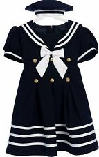 Sailor Dress Girls Nautical With Hat Infant 3-12M Toddler 2T-4TCustom Baby Dress