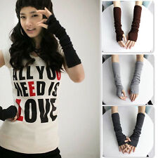 Ladies * Black Knitted Wool * Long Fingerless Arm Warmers Gloves