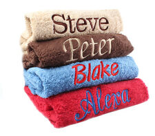 PERSONALISED EMBROIDERED TOWELS Gifts 100% Egyptian Cotton 550 GSM  12 Colours